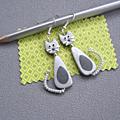 Boucles d'oreilles chat long gris clair/gris foncé