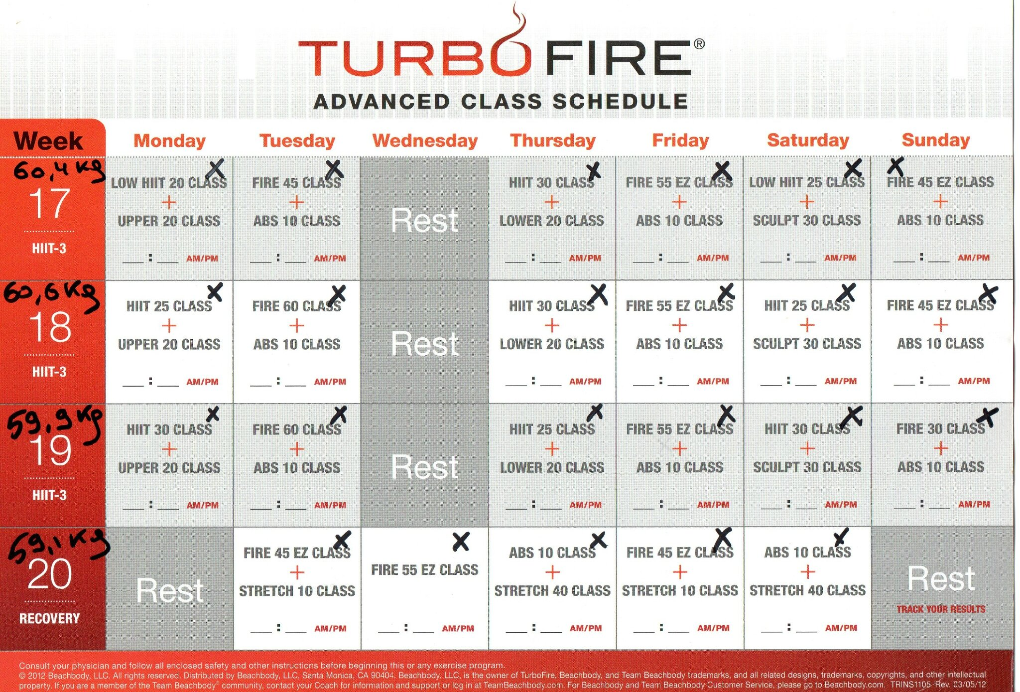 Turbo Fire Schedule | New Calendar Template Site