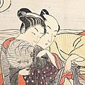 Suzuki harunobu (circa 1725-70). teahouse waitress and a lover in an intimate embrace. japan, circa 1768
