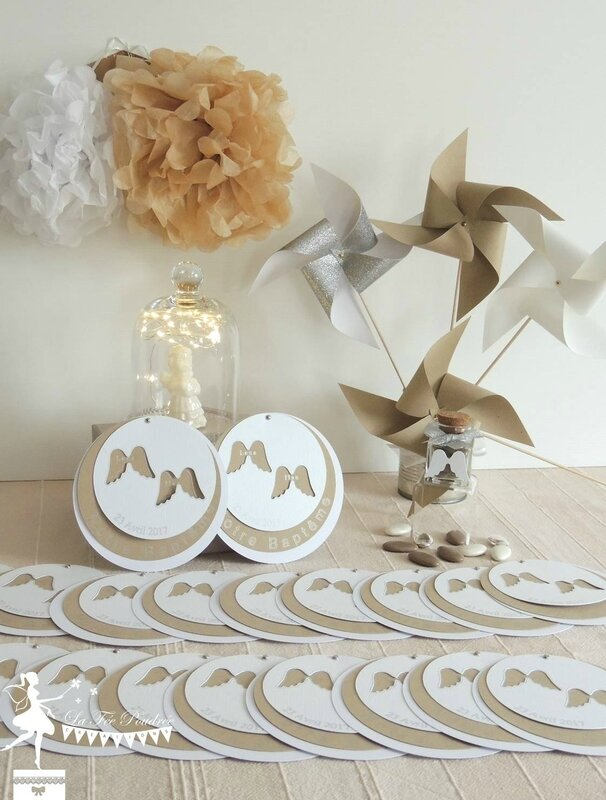 Bapt me th me ange couleurs taupe blanc argent d co la f e poudr e le blog - Decoration bapteme theme ange ...