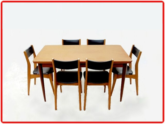 table et chaises de salle manger vintage scandinave 1960. Black Bedroom Furniture Sets. Home Design Ideas