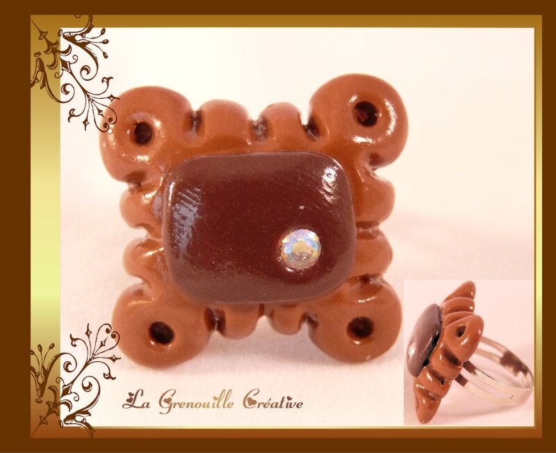 Bague biscuit choco strass