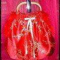 sac mini , tissu japonais rouge ,