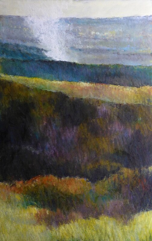 horizon elevation 75 broceliande, 2016, pastel à l'huile, 31 x 47 cm