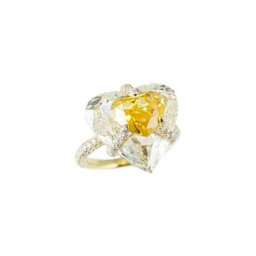 Bogh-Art Kissing Diamonds Fancy Vivid orangy yellow and yellow diamond ring