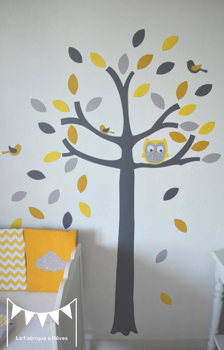 Stickers arbre gris jaune blanc hibou chouette oiseaux for Decoration jaune