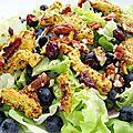 Salade myrtilles, pécan et poulet grillé mariné