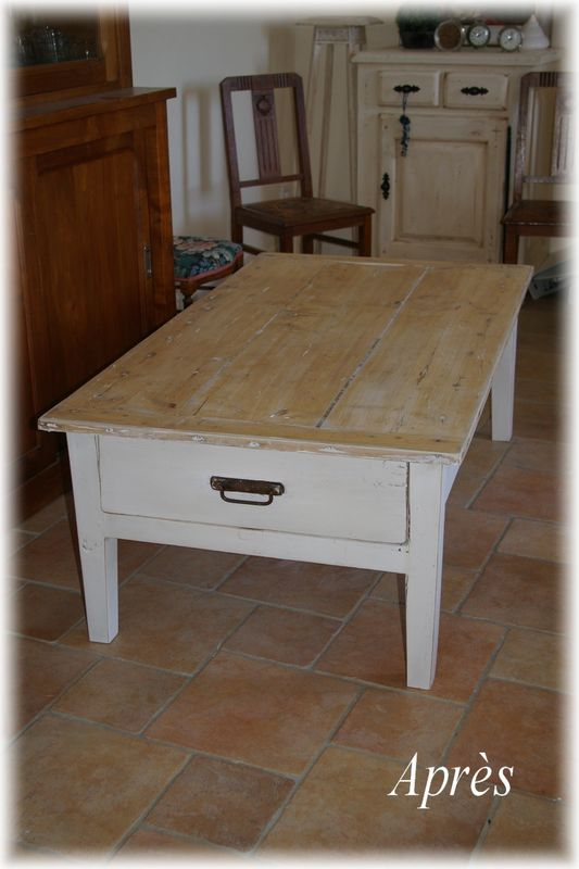 Patiner une table basse atelier soulan d 39 emperos - Comment patiner une table basse en bois ...