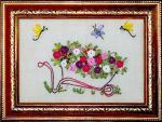La brouette aux roses Broderie aux rubans 13x19 cm