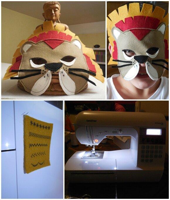Masque de lion en tissu
