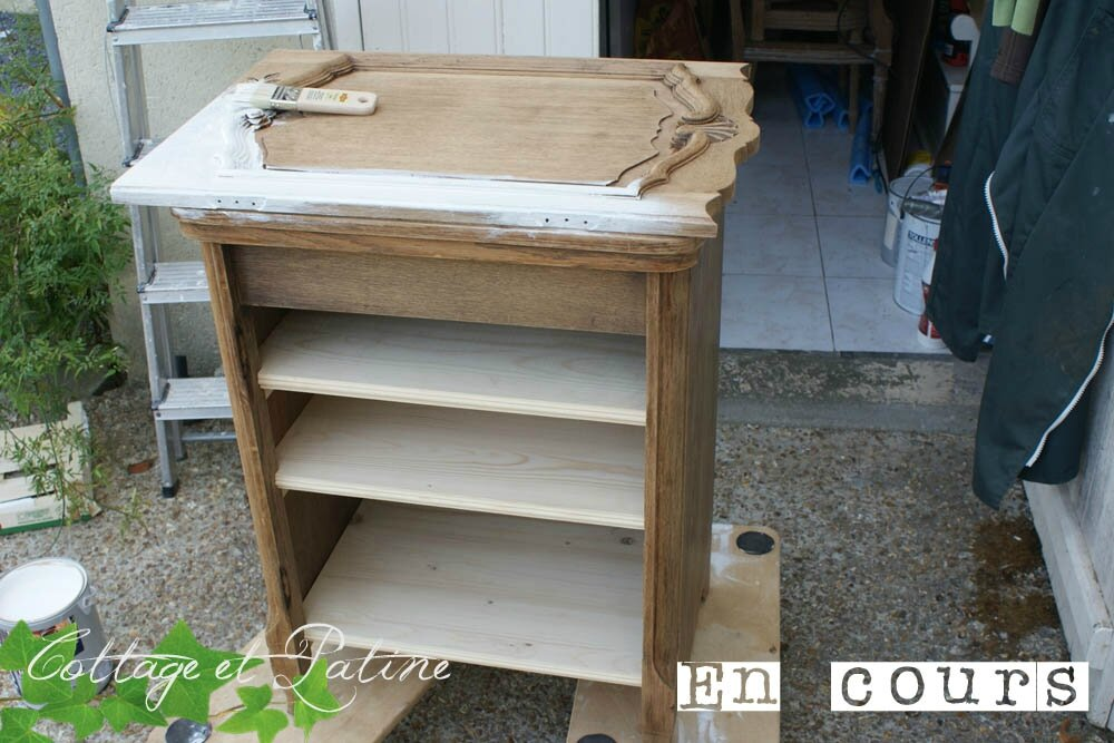 Ancien meuble couture avant apr s cottage et patine - Customiser un miroir ancien ...