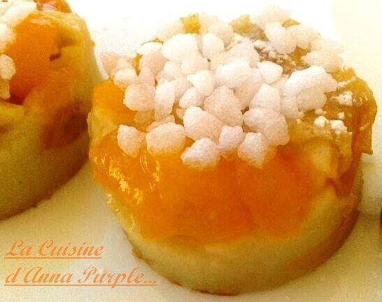 Flan-clafoutis aux mirabelles sur lit de sucre chouquettes