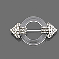 An art deco rock crystal, diamond and platinum brooch