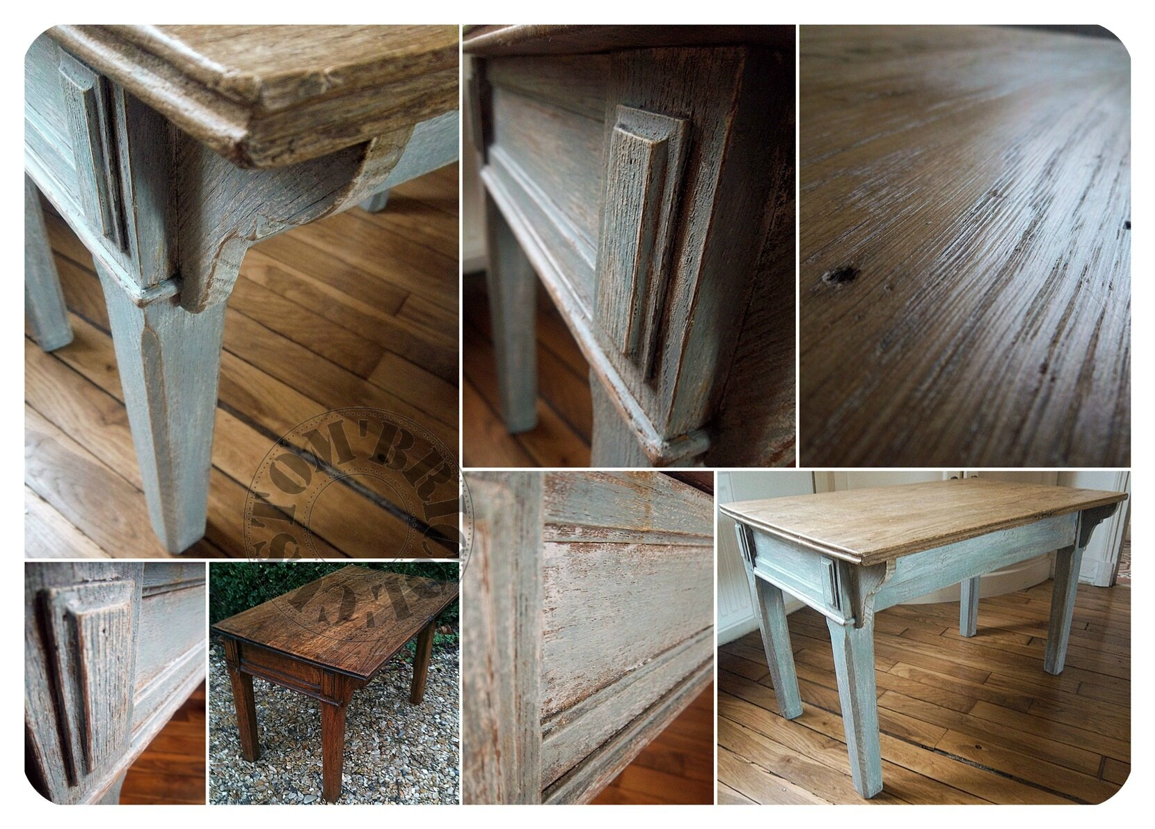 Table basse pupitre bleu -montage