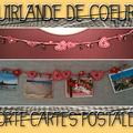 Guirlande de coeurs porte-cartes postales