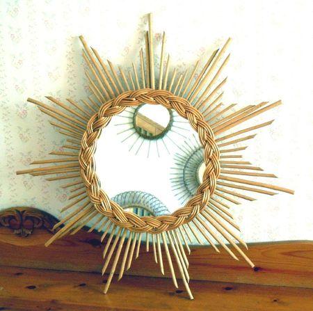 Miroir soleil en rotin osier vintage retro cosy for Miroir en osier