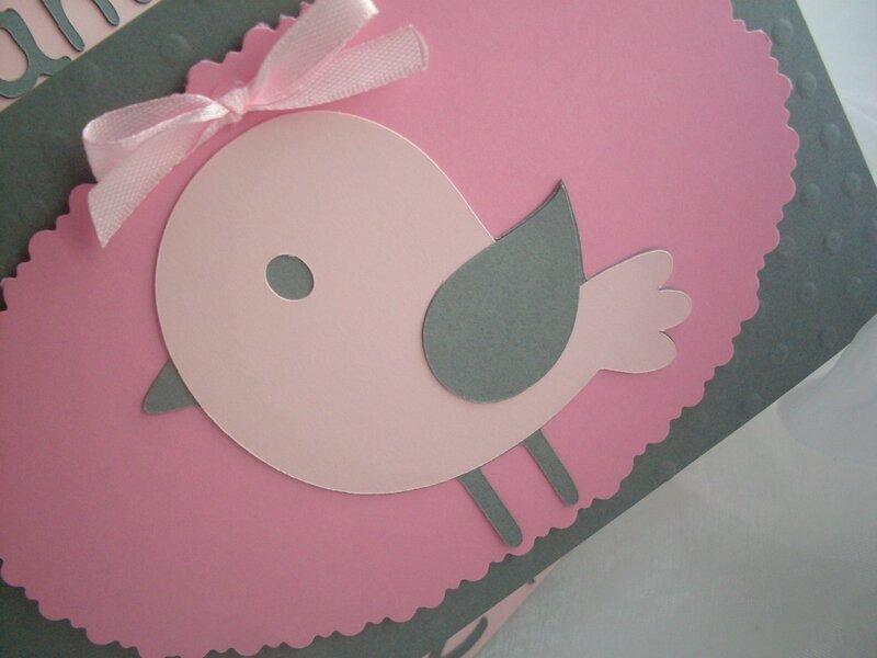carte de voeux félicitations faire part naissance baptême fait main oiseau gris rose pale1