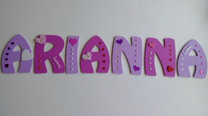 lettre bois prénom Arianna