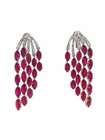 Paire de pendants d'oreilles diamants et rubis