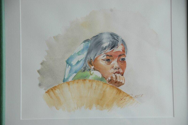 petite fille au chapeau aquarelle 2008