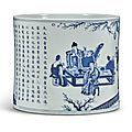 A blue and white 'spring banquet' brushpot, qing dynasty, kangxi period (1662-1722)