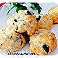 cookies féta olives noires et parmesan - la cuisine d'anna purple