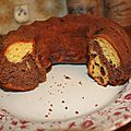 Un gateau marbré chocolat dans un moule à kouglof, gluten free