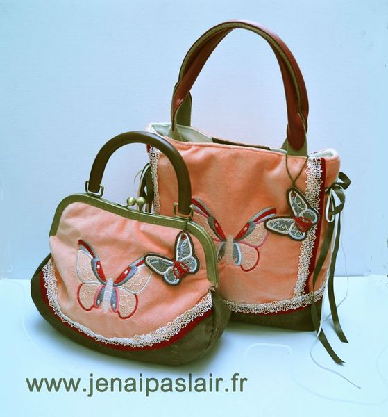 sac à main corail original cuir velours papillon j en ai pas l air