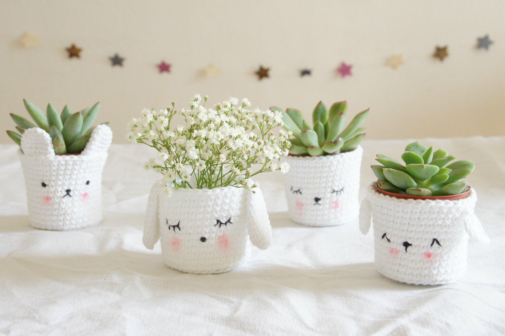Beliebt Cute crochet plants pots *.* - Tournicoteà cloche-pied BP34