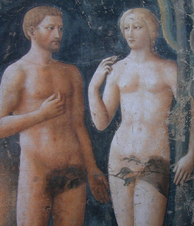 Adam et Eve de Masolino (avant la restauration)