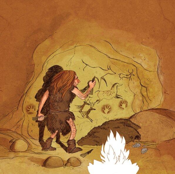 La chasse chez l 39 homme de cro magnon la table a dessin galactique le blog de gwenole - Coloriage grotte ...