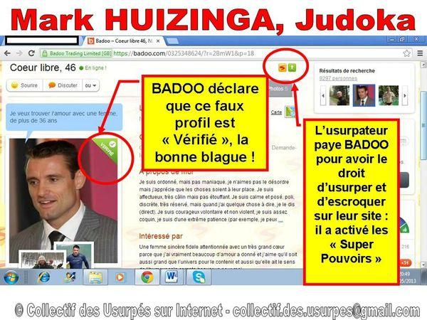 profil soi-disant Vérifié sur BADOO - fake de Mark HUIZINGA