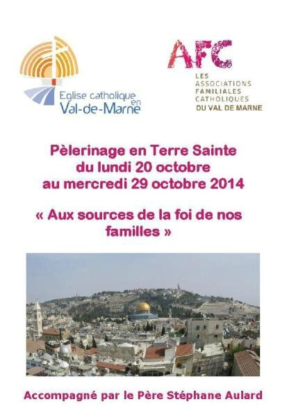 Bulletin d'inscription Terre Sainte 2014 face bis