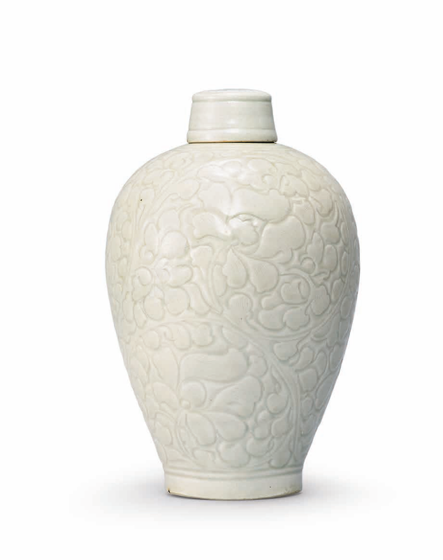A carved Qingbai 'Peony' meiping and cover, Southern Song Dynasty (1127-1279)