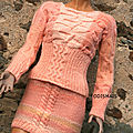 Tricot fait main pull jupe torsade rose tricot mode femme by odismais