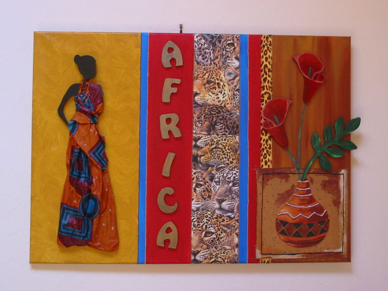 Grand tableau africain 50/70 cms