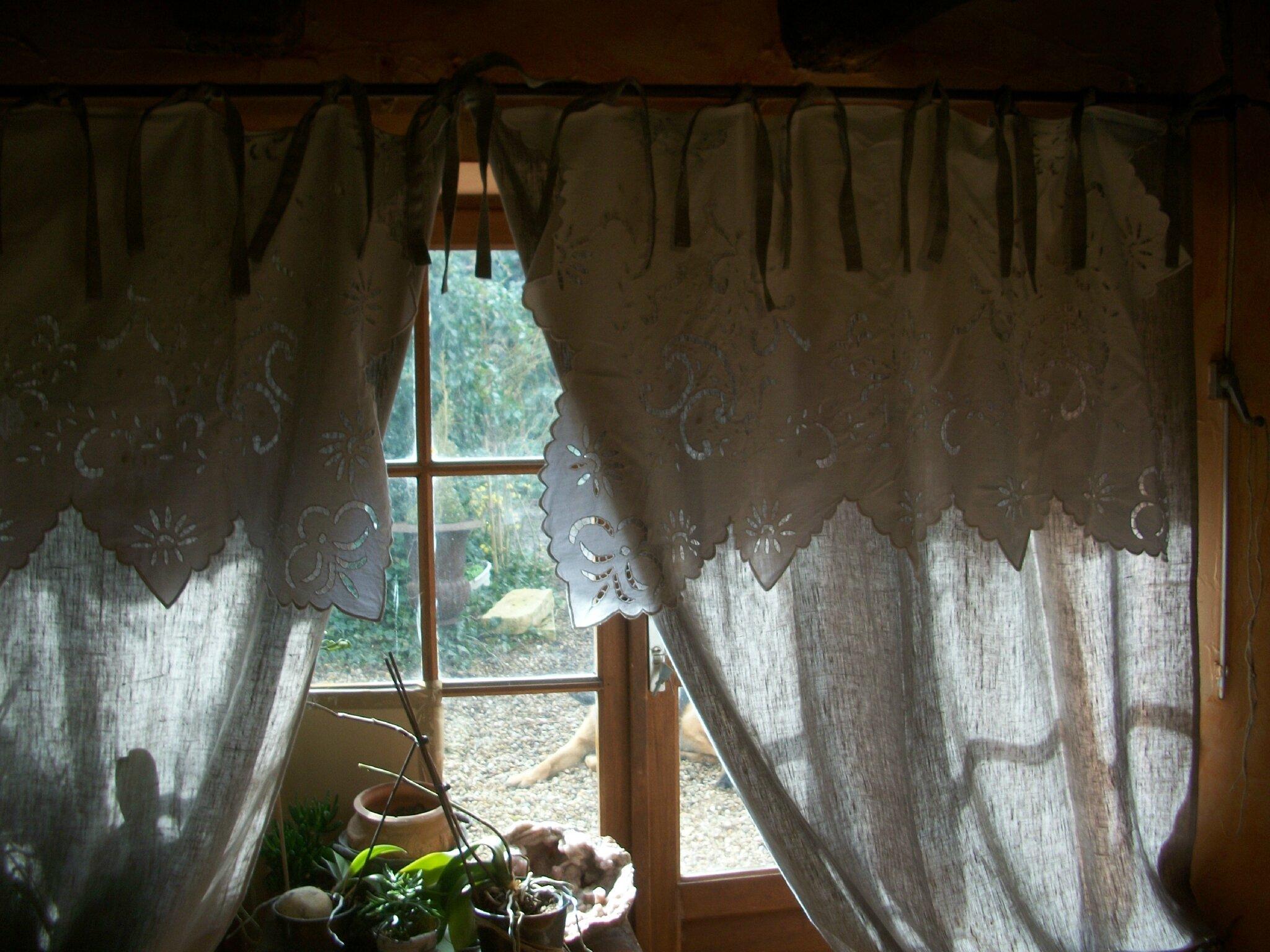 rideaux en linge ancien et lin naturel
