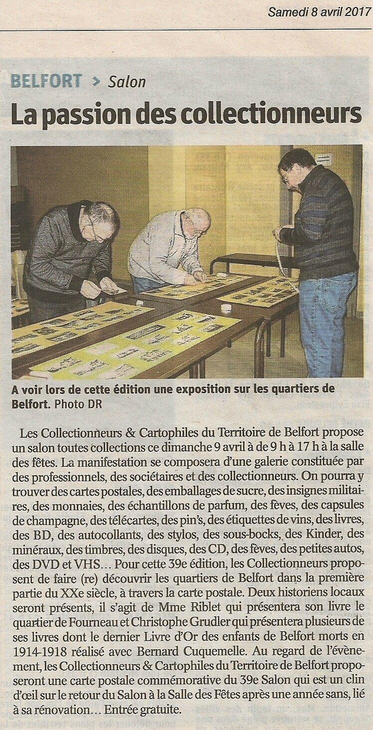 Salon 2017, article de L'Est Républicain annonçant la manifestation