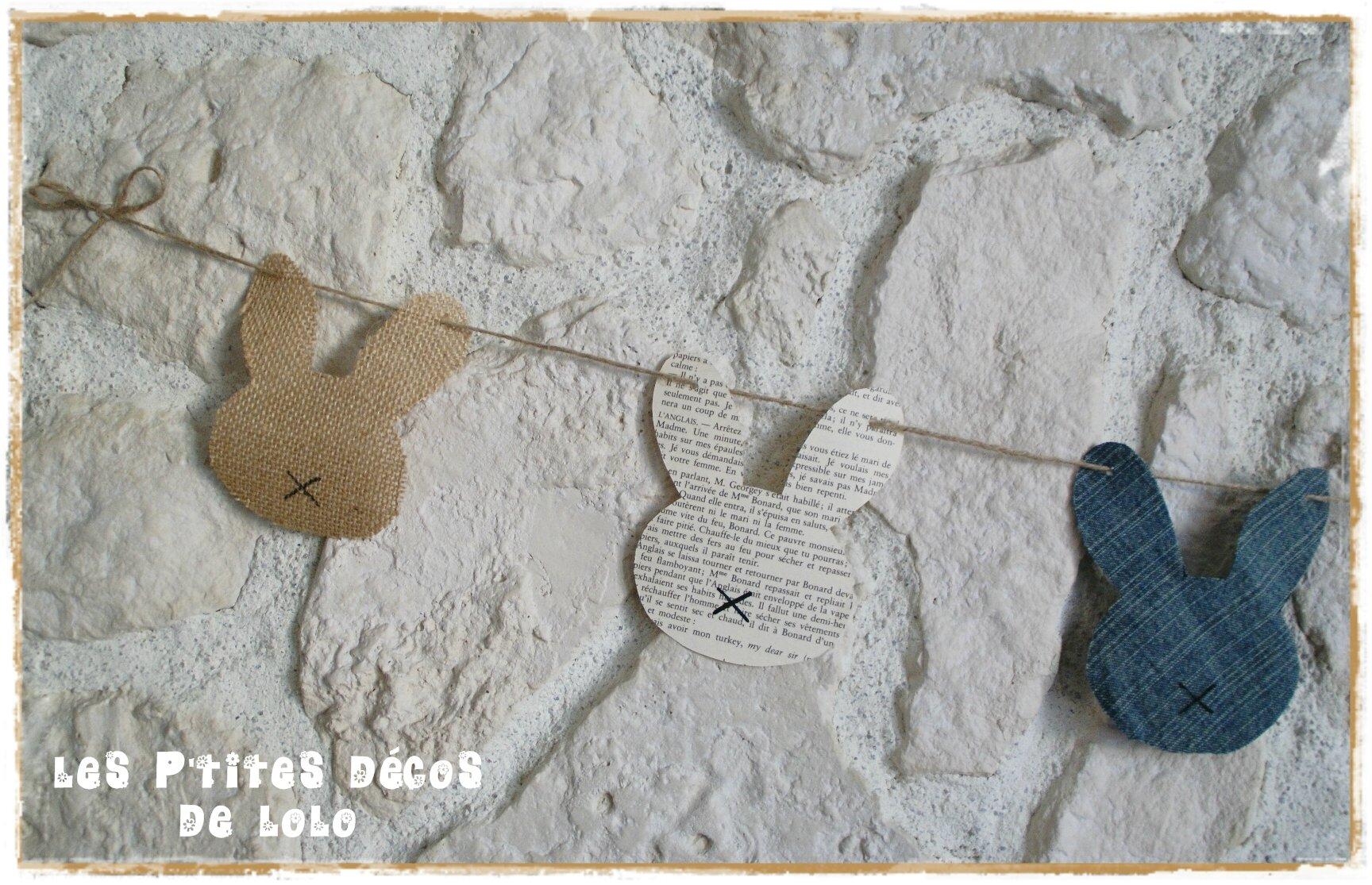 Déco de Pâques les 3J ( ??? ) à faire soi-même : une guirlande lapins