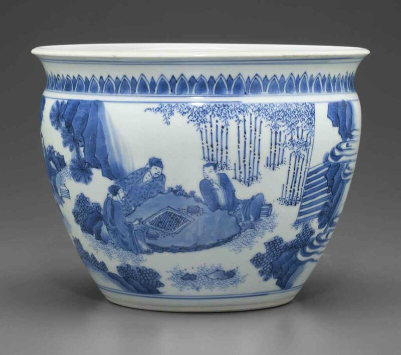 A blue and white jardinière, Transitional period, circa 1640-1650