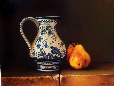 pichet terre cuite d co bleu aux poires sur pierre photo de photos de peintures fr d ric. Black Bedroom Furniture Sets. Home Design Ideas