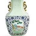 A Magnificent Carved Celadon-Glazed, Famille-Rose and Underglaze-Blue 'Boys' Vase, Seal Mark and Period of Qianlong