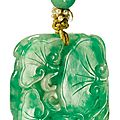 A jadeite 'lingzhi' pendant, late qing dynasty