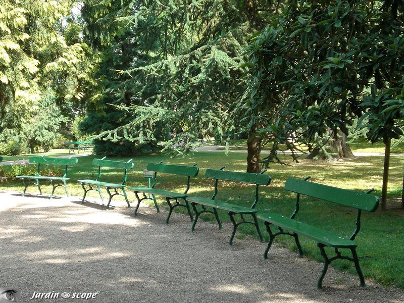 Alignement de bancs au Jardin botanique de Tours