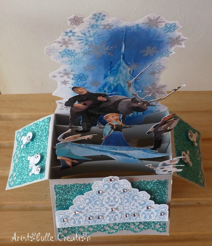 Card in a box Reine des Neiges - dessus face