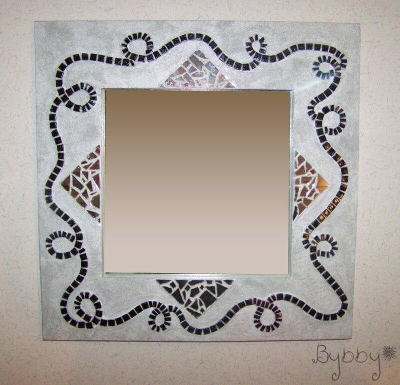 Miroir Avec Encadrement En Carton Noir Et Blanc Mosa Que