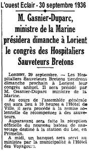 CH12 - Article de presse - Ministre a Lorient - Bateau de sauvetage CV de Kerros