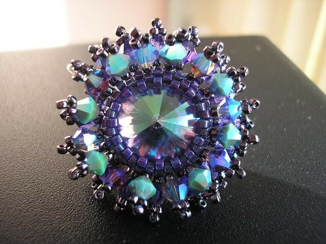 Bague crystal burst tanzanite glacier blue