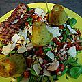 Salade aux cannelés pesto et parmesan