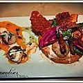 St jacques aux 2 marinades sur sablé de parmesan, jardinière de légumes et purée de mangue